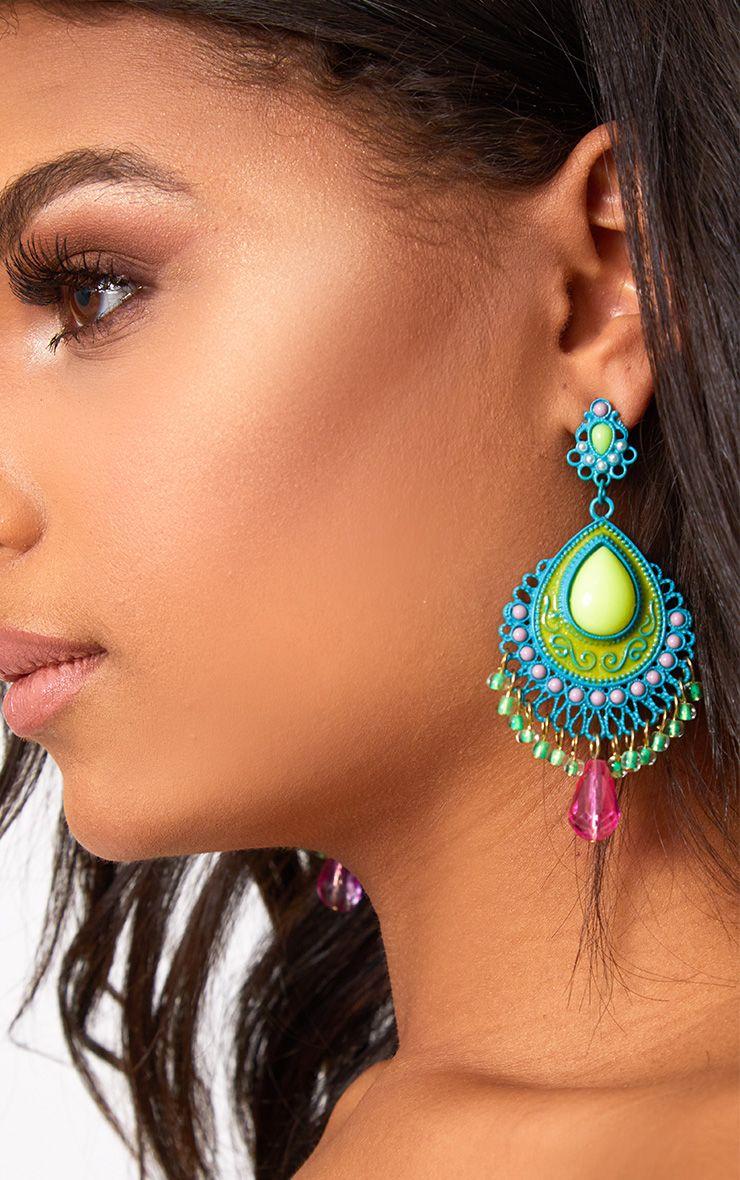 Blue Dangle Stone Statement Earrings