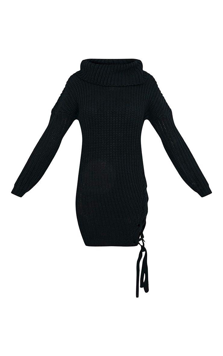 Millia pull surdimensionné noir à col roulé et lacets sur le côté 3