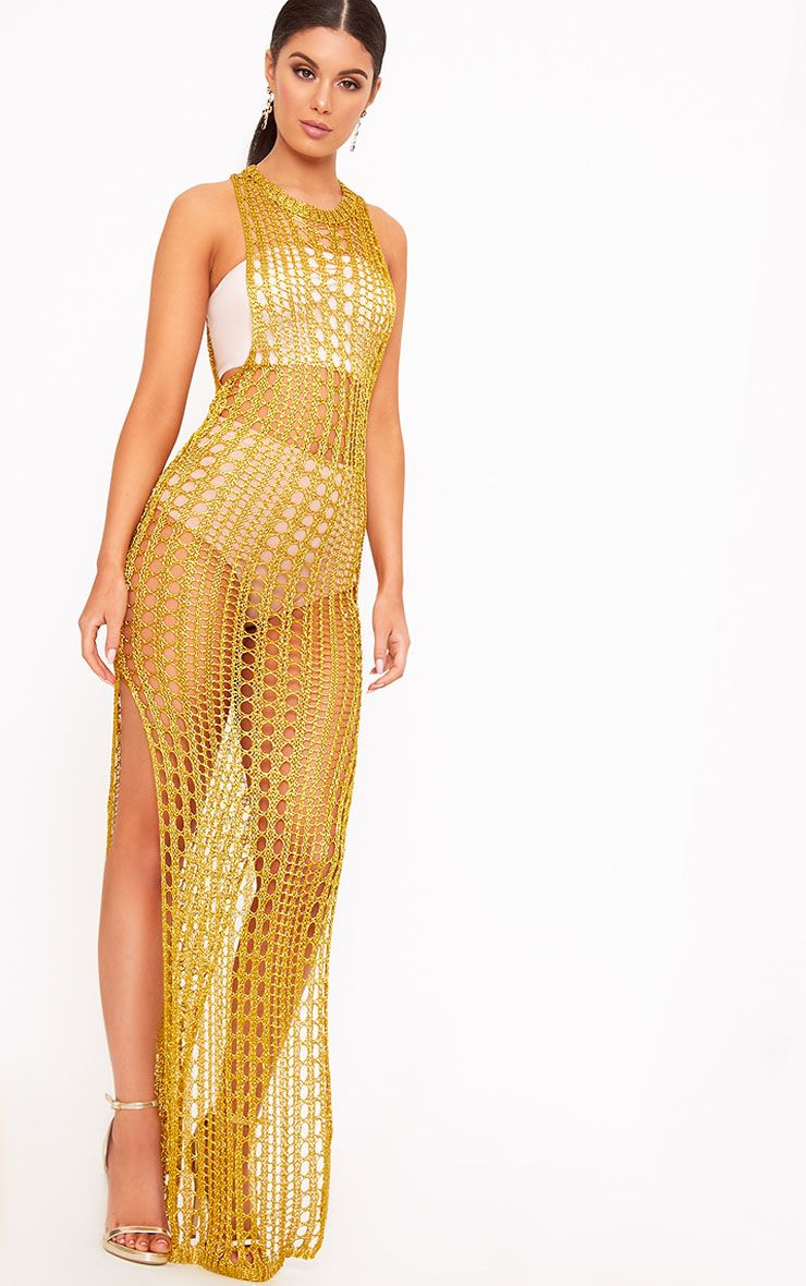 Elissa Gold Metallic Open Knit Maxi Dress