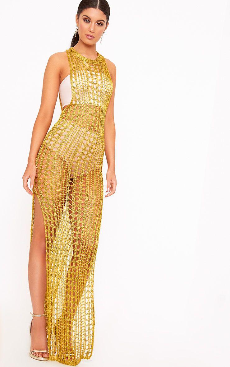 Elissa Gold Metallic Open Knit Maxi Dress 1