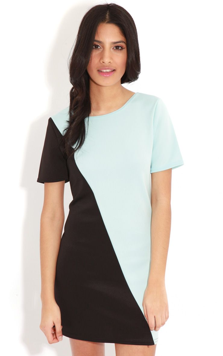 Jadie Black & Blue Scuba Dress 1
