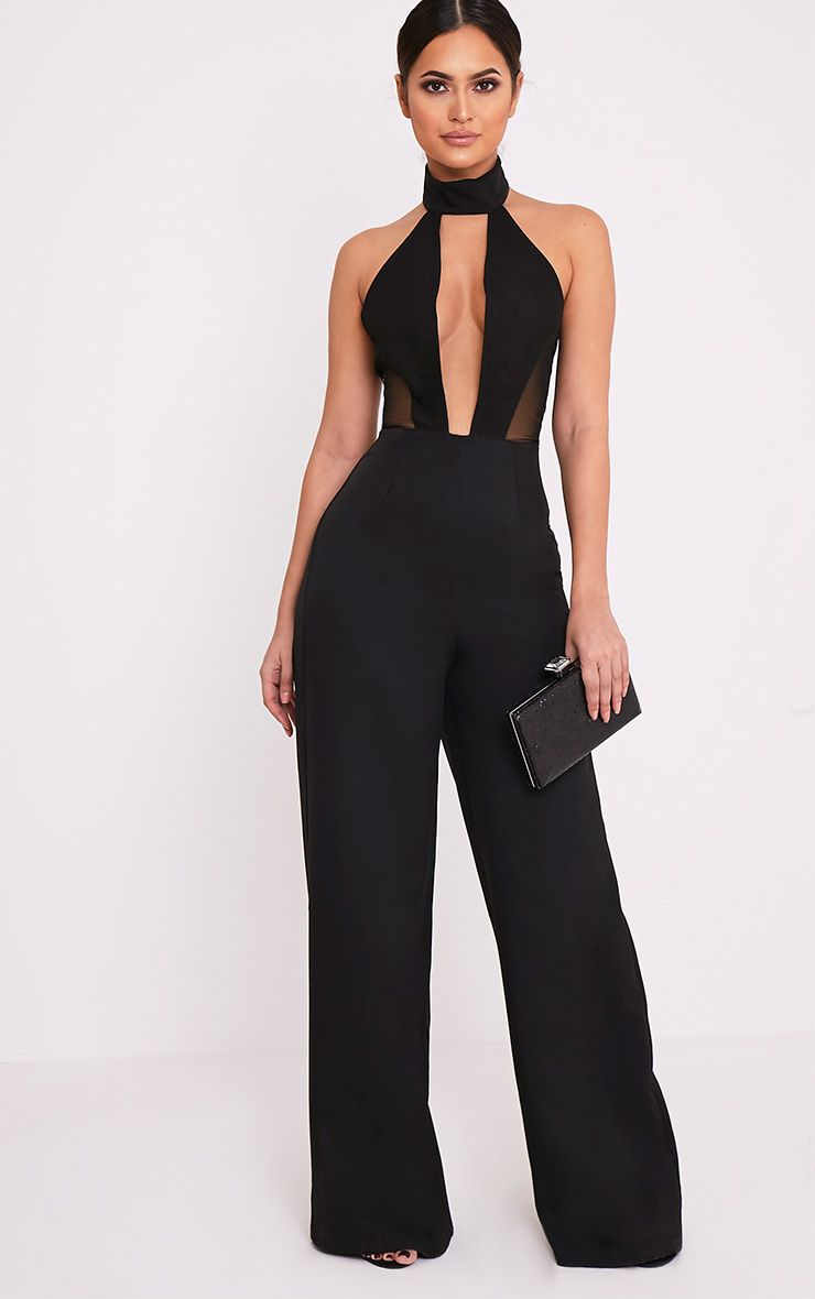 Nonie Black Choker Neck Mesh Panel Wide Leg Jumpsuit