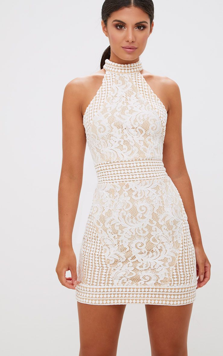 White High Neck Lace Crochet Bodycon Dress 1
