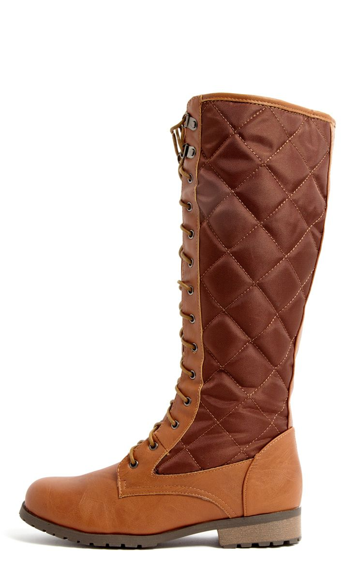 Kasey Tan Quilted Lace Up Boot 1