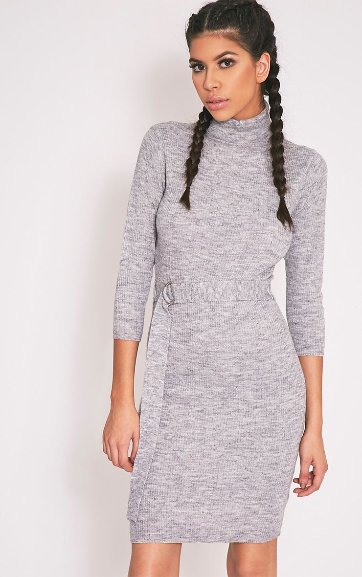 Marla Grey D Ring Knitted Jumper Dress