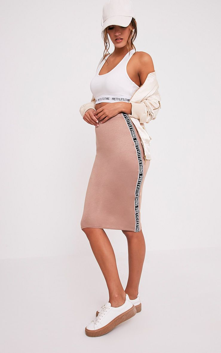 PrettyLittleThing Side Panel Camel Midi Skirt
