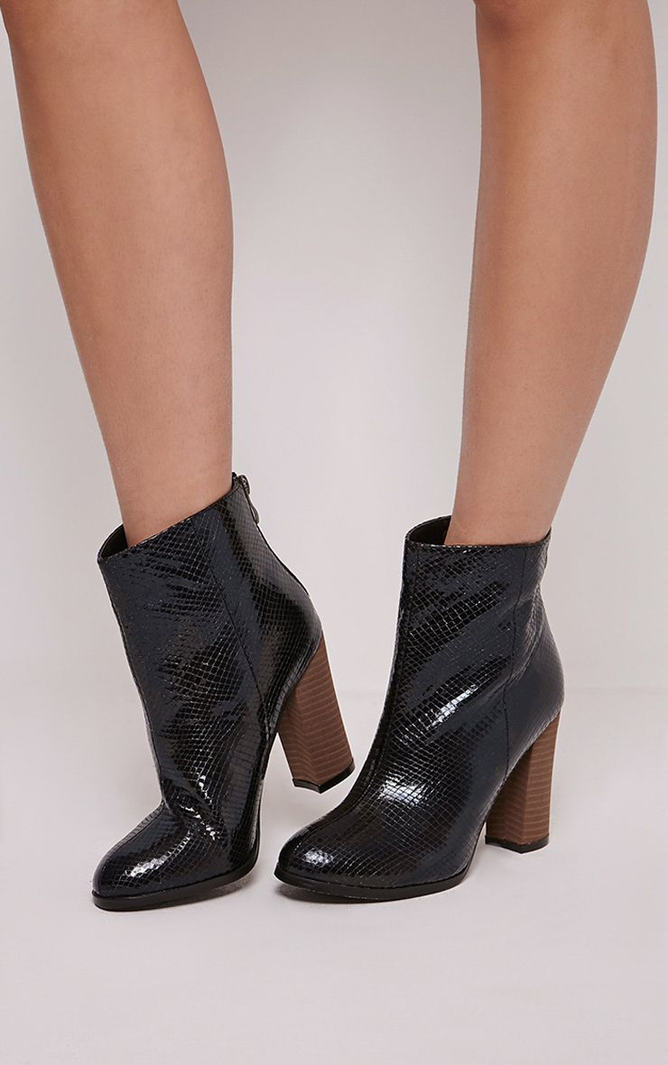 Becci Black Snakeprint Ankle Boots