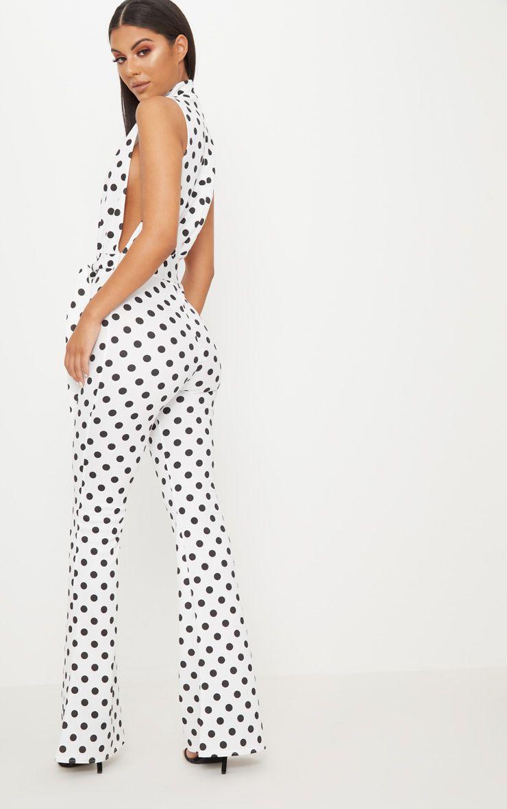 bf1bc88b6e4 PrettyLittleThing - White Polka Dot Scuba High Neck Tie Waist Jumpsuit - 2