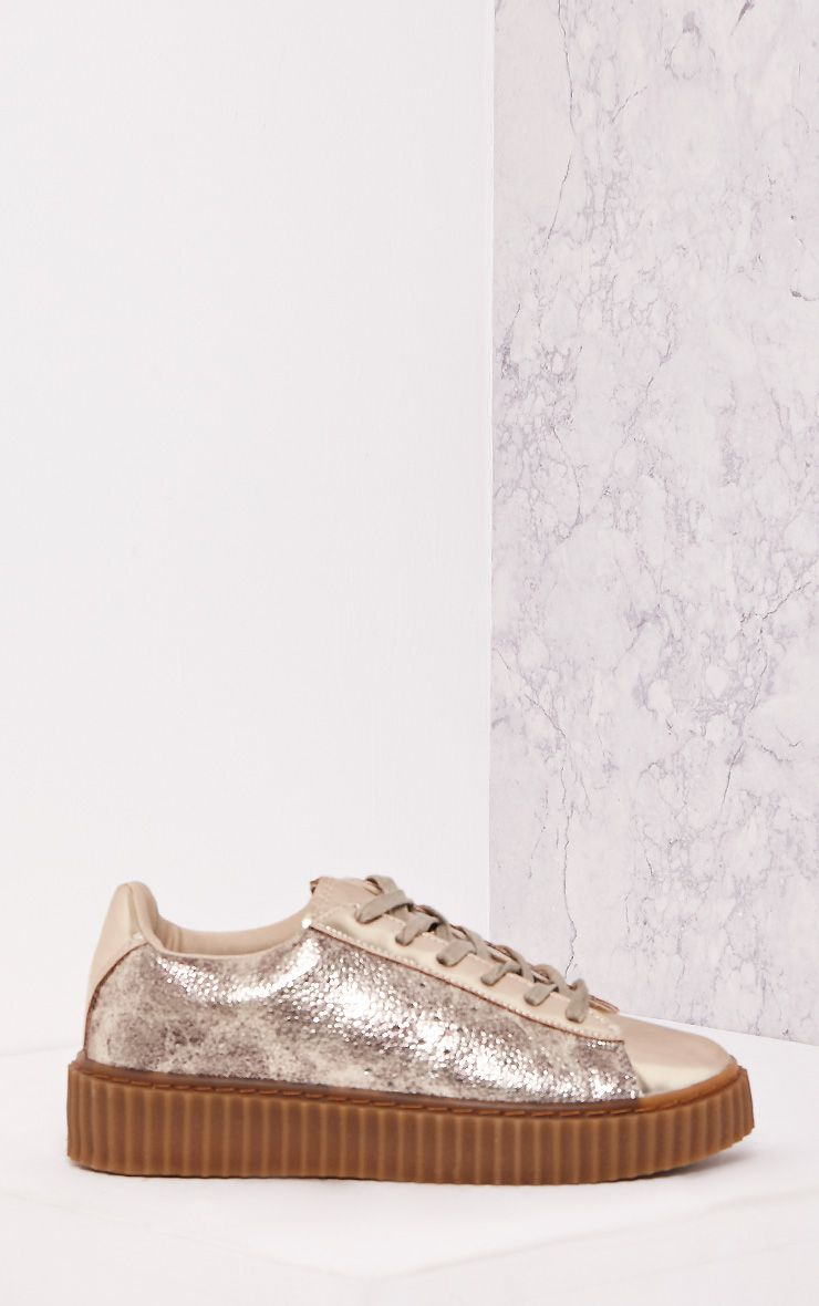 Cia Gold Metallic Creeper Trainers