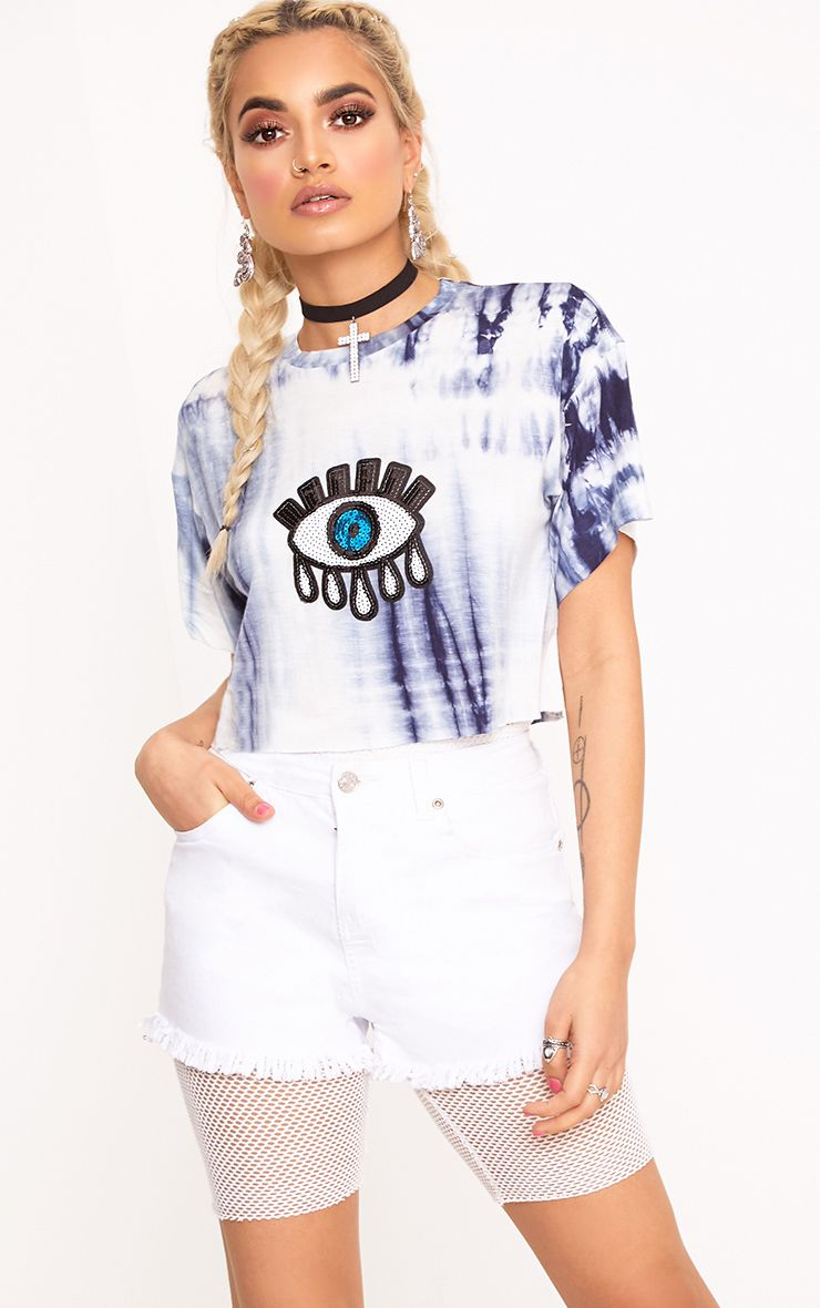 Aletha Blue Tie Dye Eye Applique Crop T Shirt
