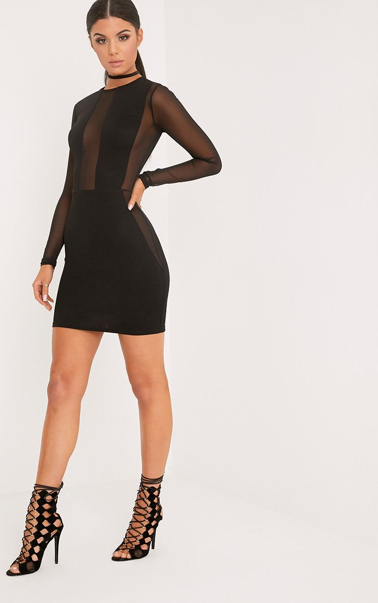 Eliza Black Mesh Insert Long Sleeve Bodycon Dress