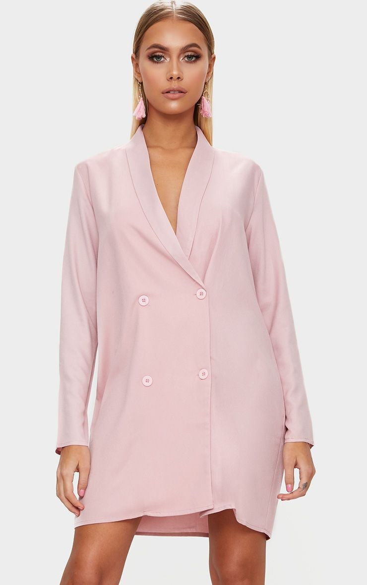 Dusty Pink Oversized Blazer Shift Dress
