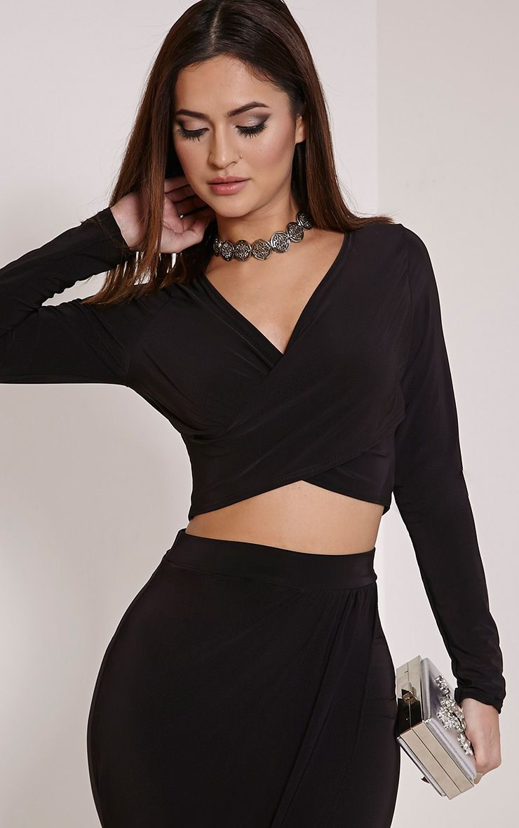 Ginevia Black Slinky Wrap Front Crop Top 1