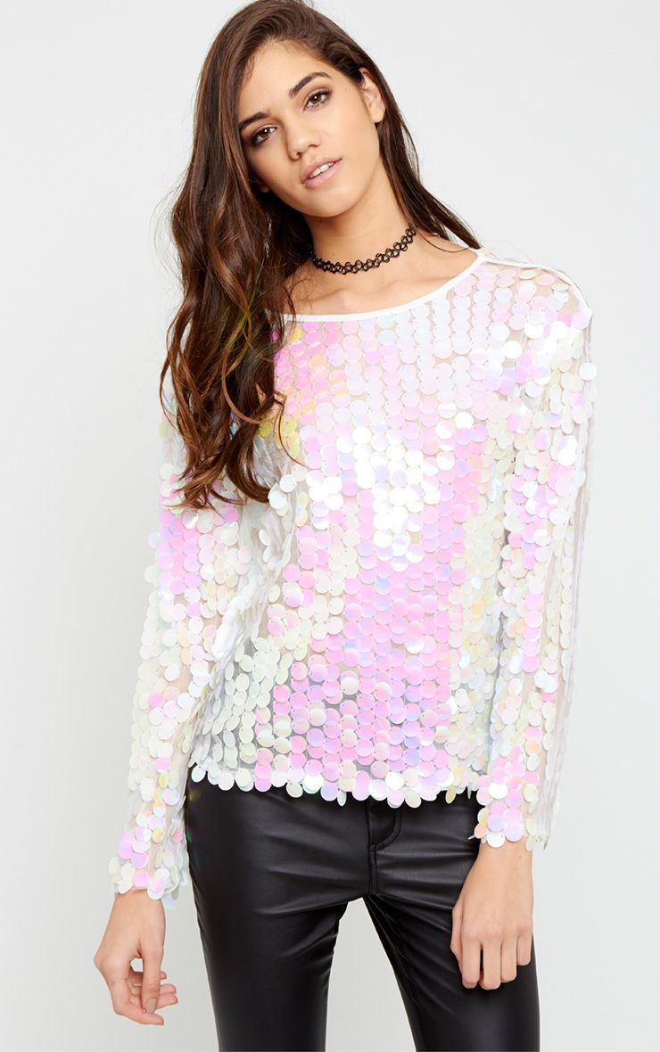 Nelly White Sequin Mesh Jumper  1