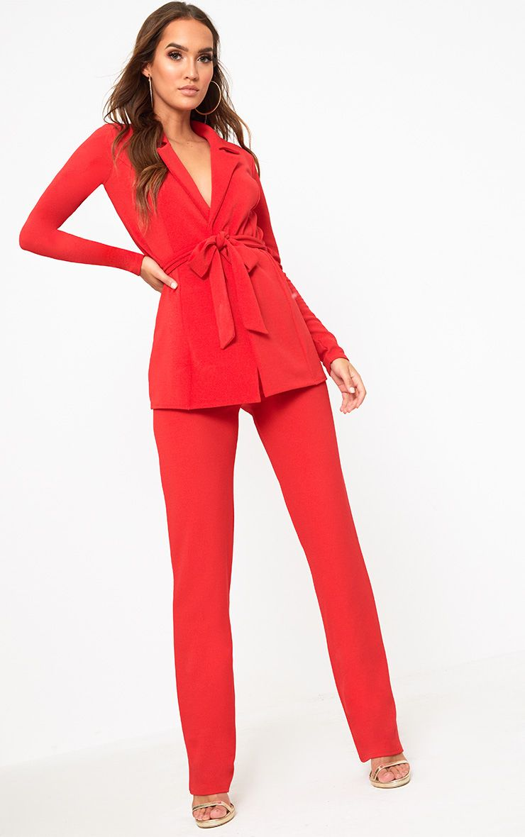 Red Straight Leg Suit Trousers