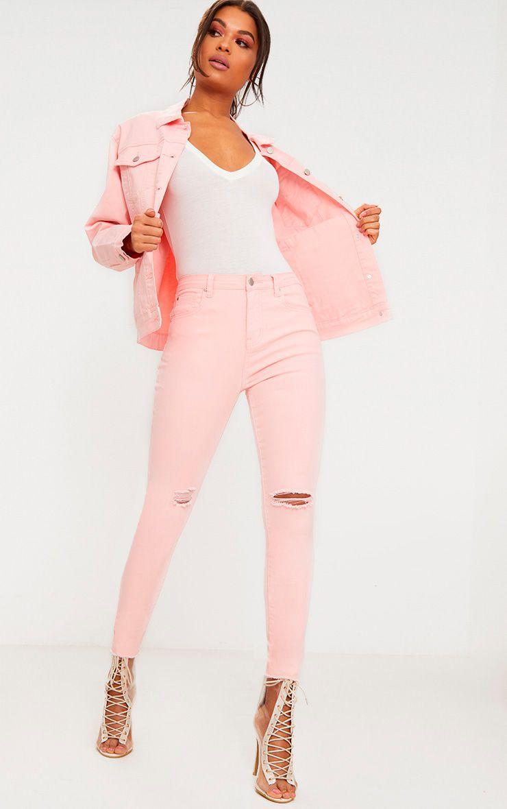 Baby Pink Rip Knee Skinny Jean