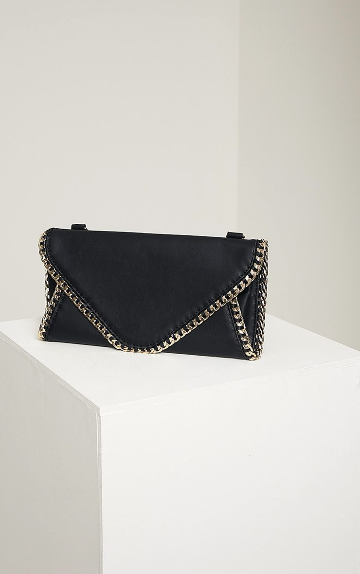 Theresa Black Chain Envelope Clutch Bag Black