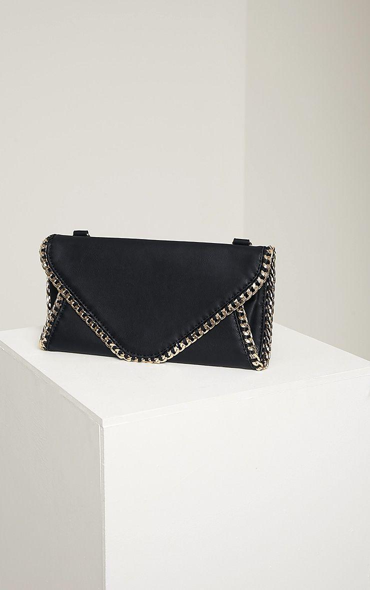 Theresa Black Chain Envelope Clutch Bag Black