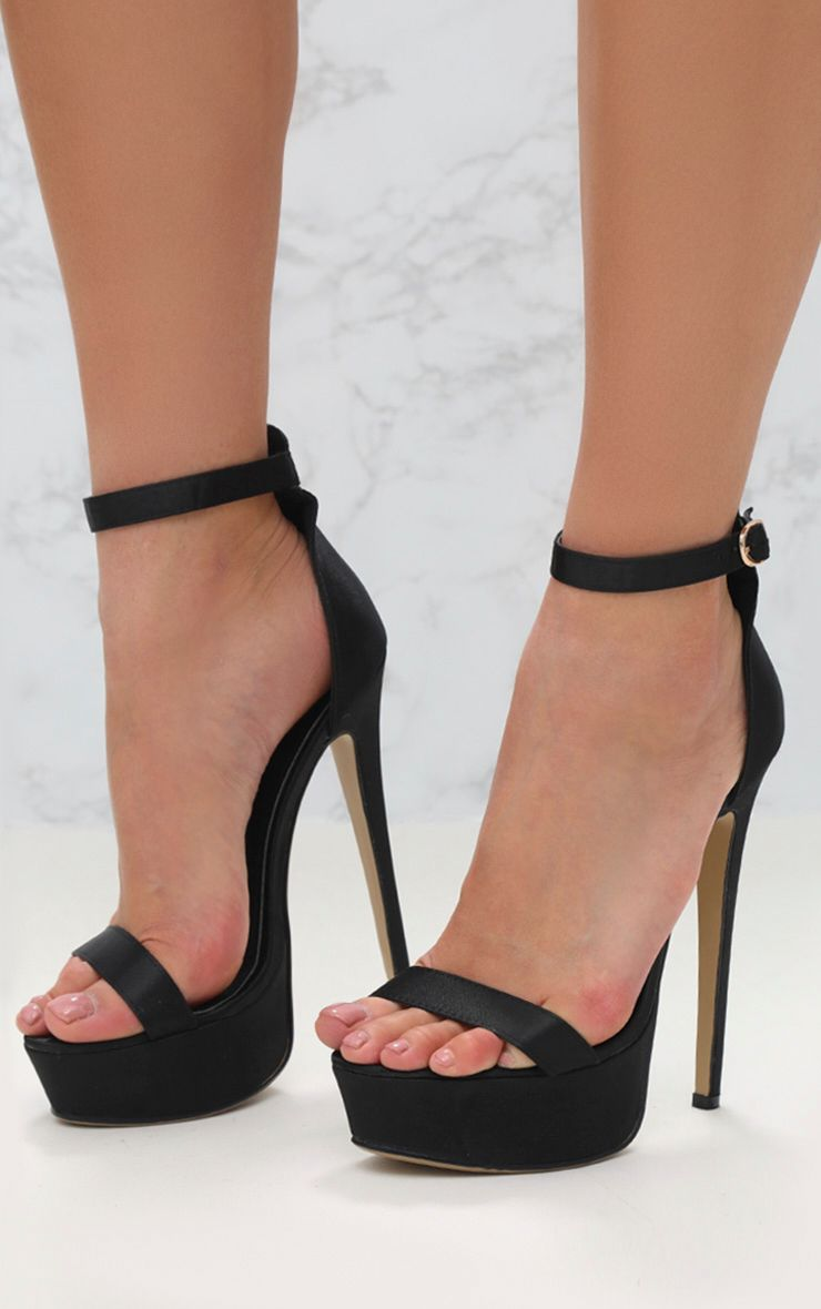Black Satin Single Strap Platform Heels Prettylittlething