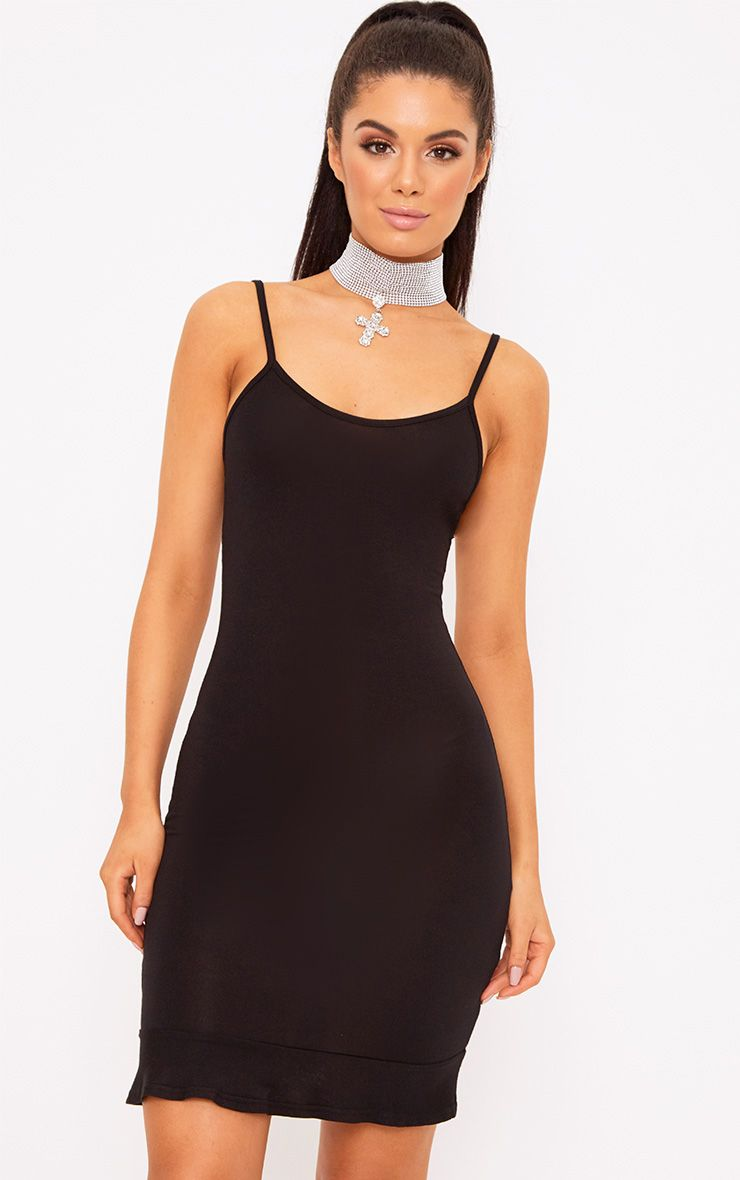 Black Frill Hem Bodycon Dress