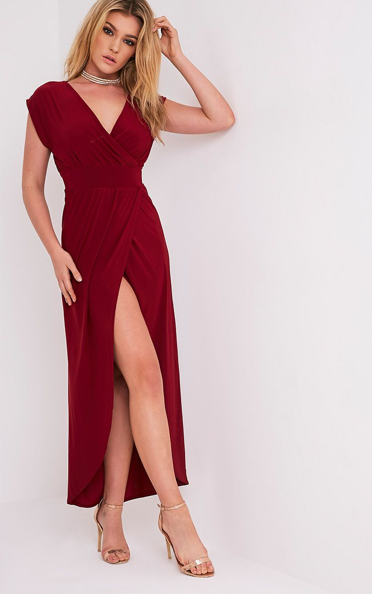 Marlisa Oxblood Slinky Plunge Maxi Dress