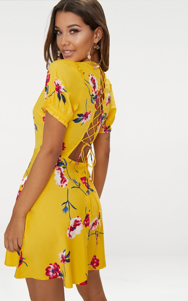 Yellow Floral Lace Up Back Tea Dress