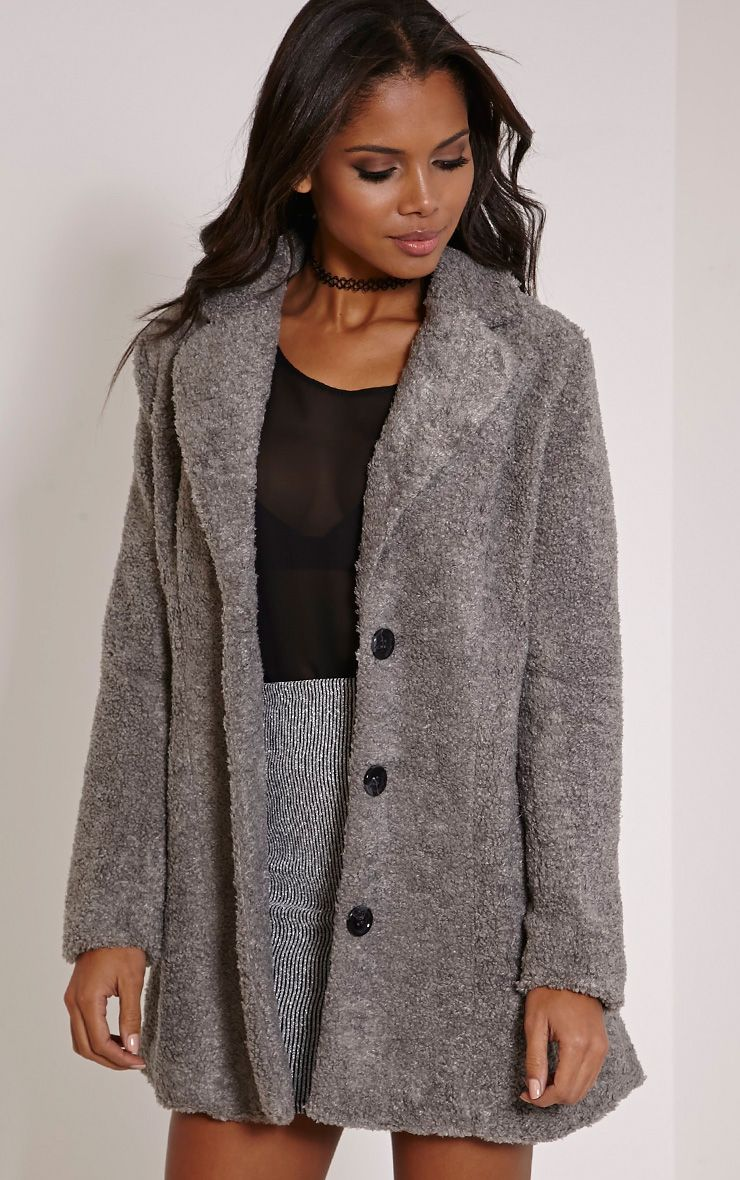 Louise Grey Bobble Knitted Coat 1