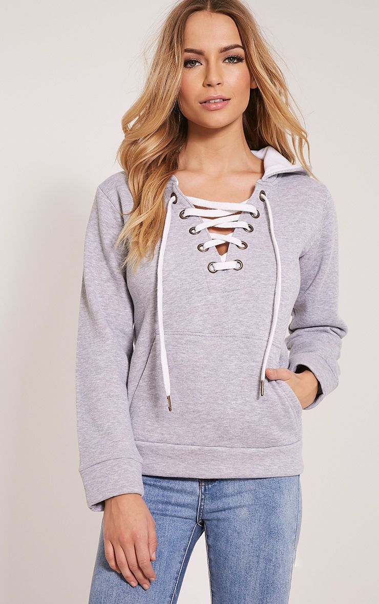 Isla Grey Lace Up Hoodie 1