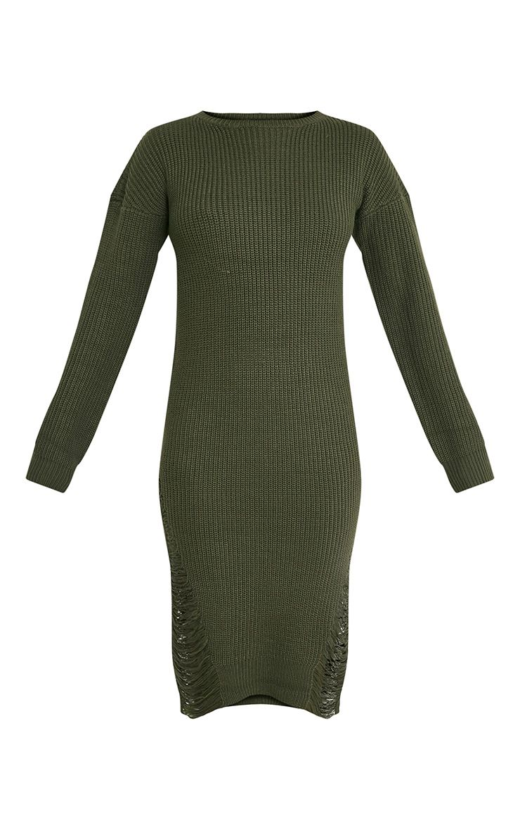 Kionae robe tricotée surdimensionnée effilochée kaki 4