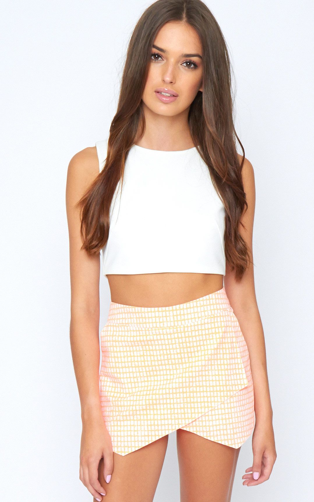 Mimi Orange Abstract Check Skort 1