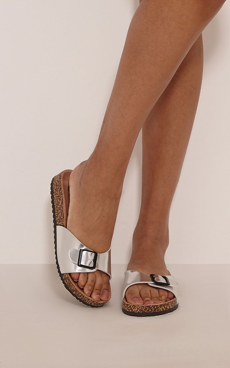 Liliy Silver Metallic Slip On Sandals