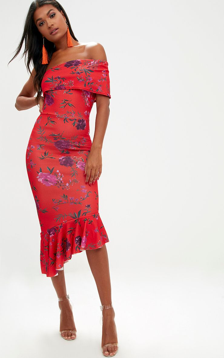 Orange Floral Asymmetric Bardot Frill Detail Midi Dress