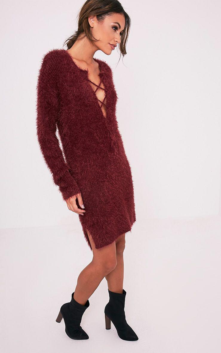 Floraline Burgundy Lace Up Mohair Knit Jumper Dress 5