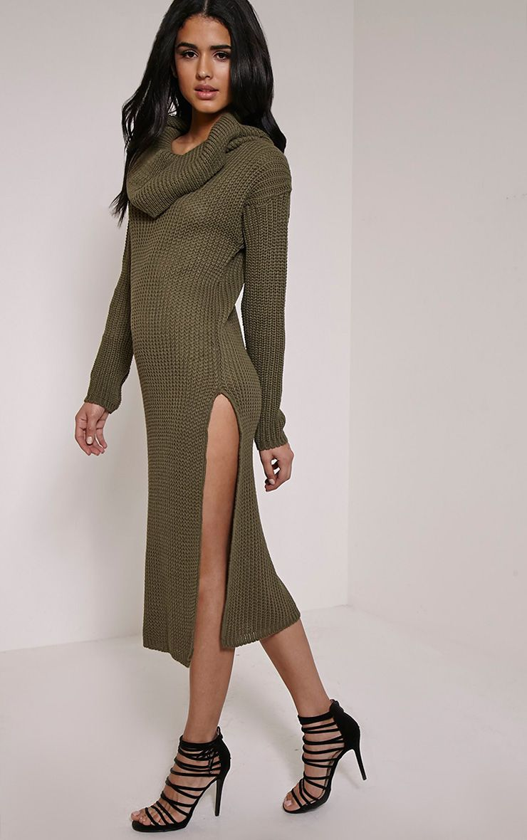 Braven Khaki Cable Knit Maxi Jumper Dress Green