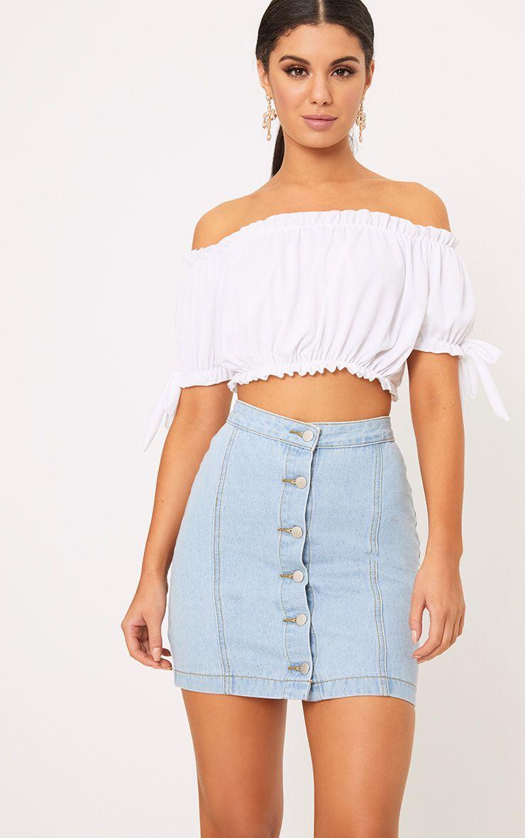 Kaela Light Wash Denim Button Down Skirt 1