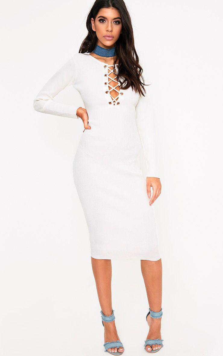 Cateleya White Eyelet Bodycon Midi Dress