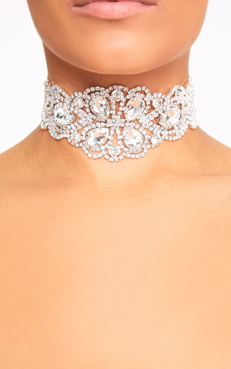 Silver Jewelled Diamante Choker