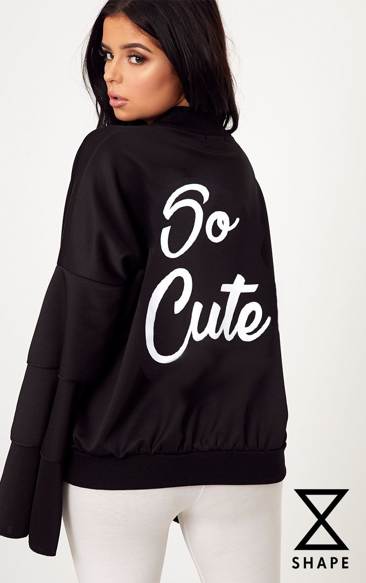 Shape Black So Cute Bomber Jacket