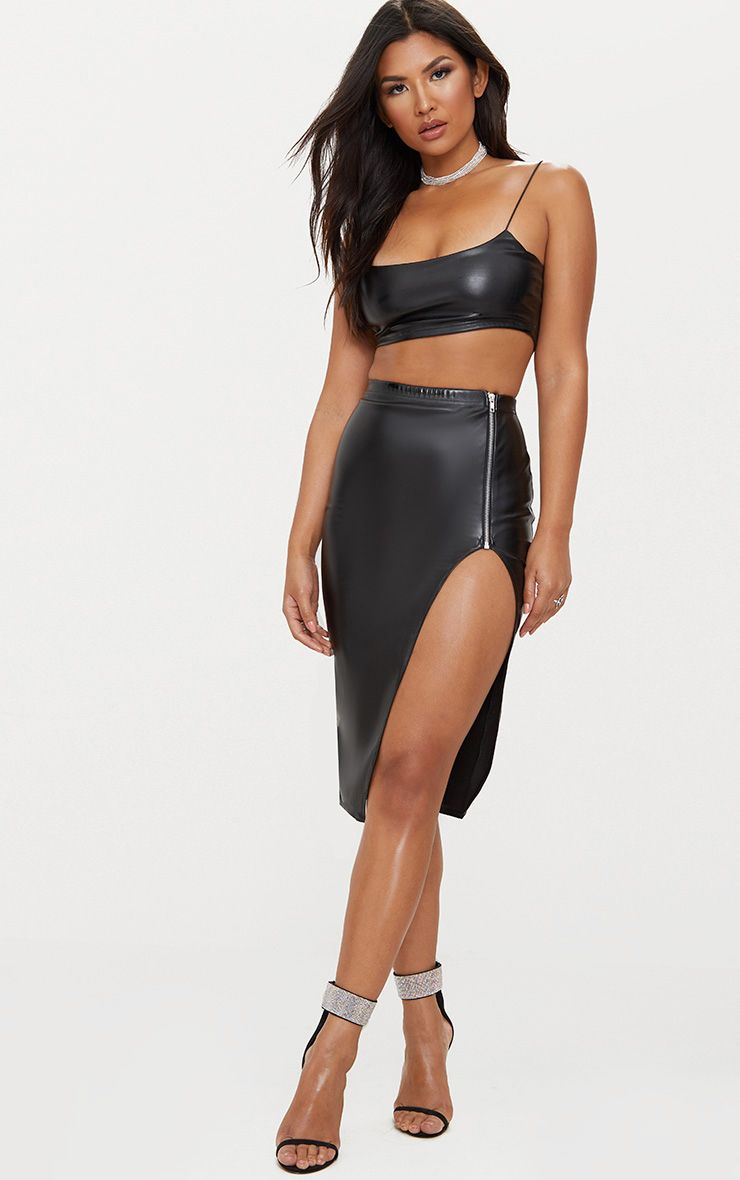 Black Faux Leather Extreme Split Skirt