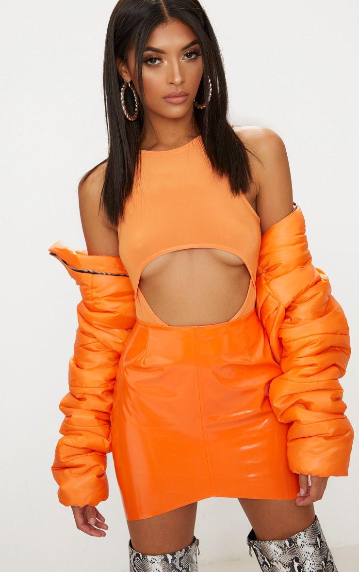 Tangerine Slinky Underbust Cut Out Thong Bodysuit