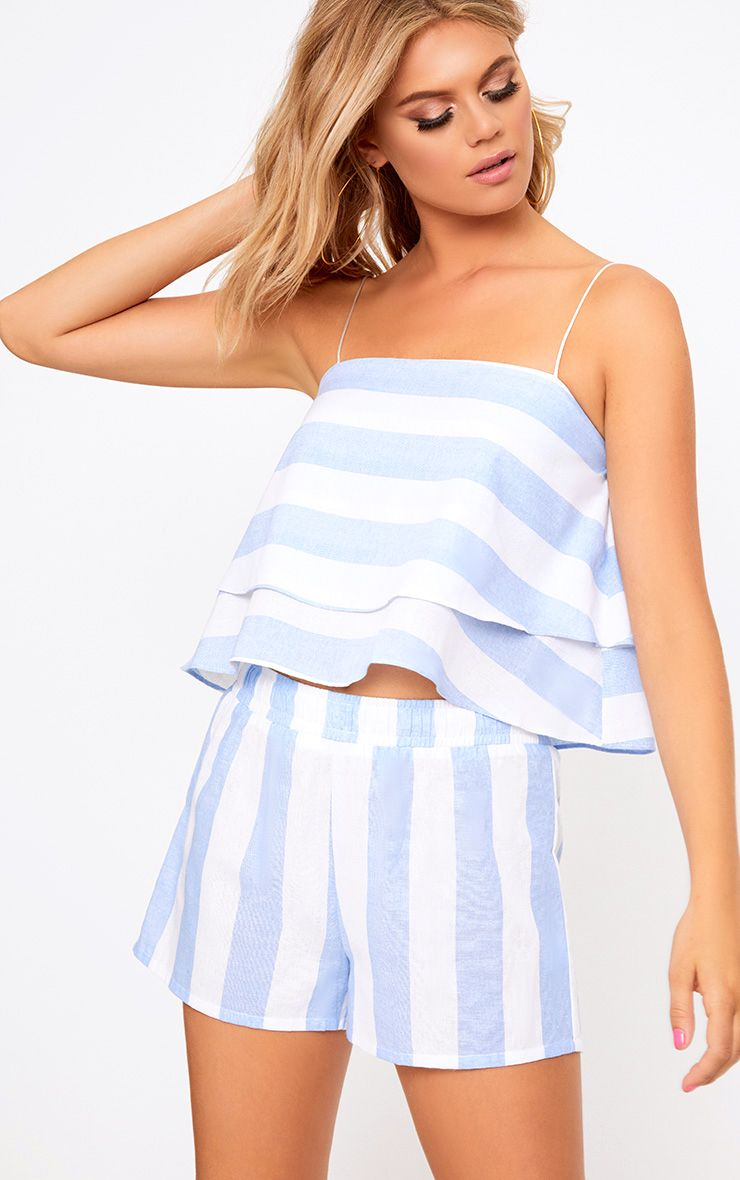 Baby Blue Bold Stripe Beach Shorts