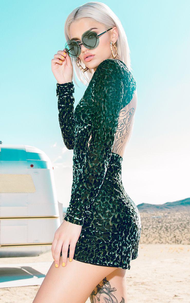 Green Velvet Leopard Playsuit