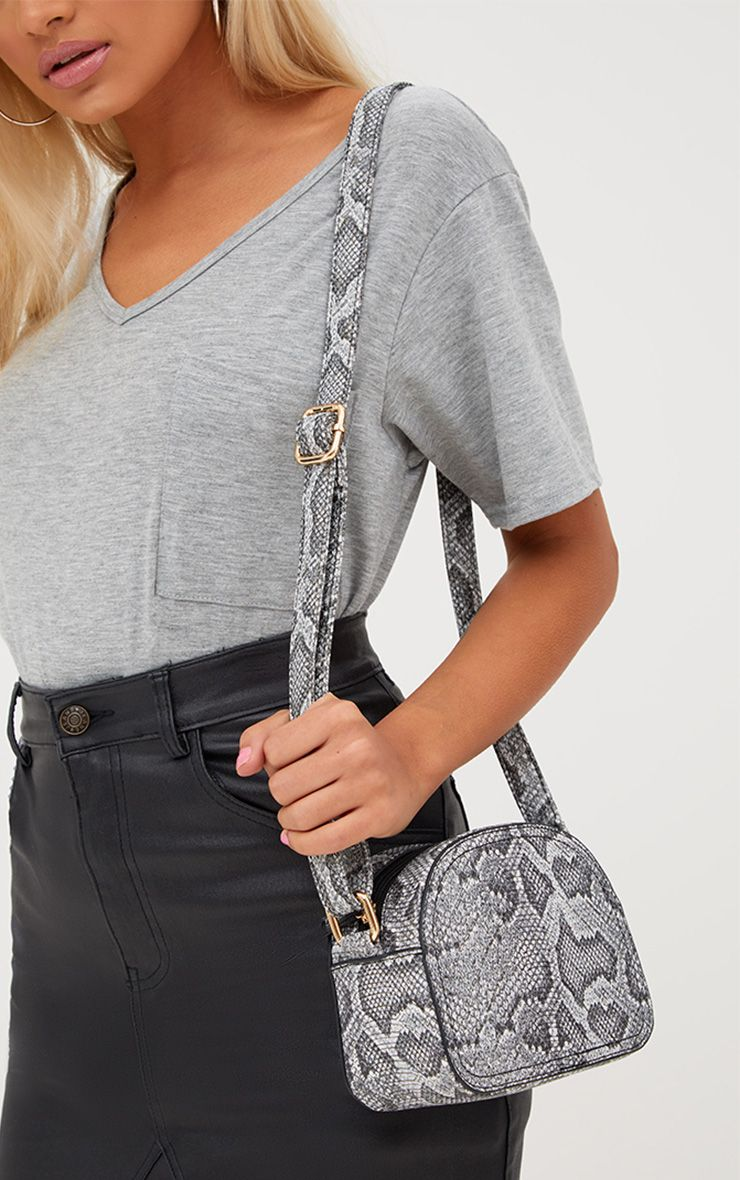 Black and White Snakeskin Across Body Bag