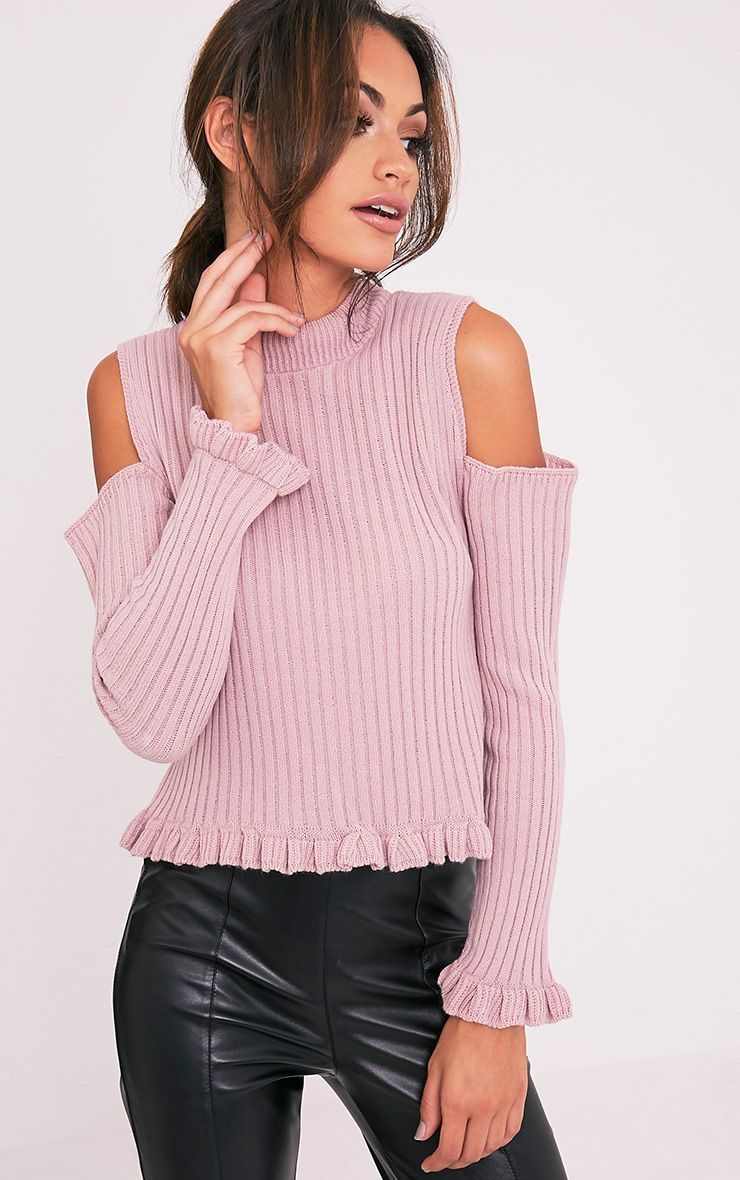 Sophiann Blush Cold Shoulder Ruffle Detail Jumper 1