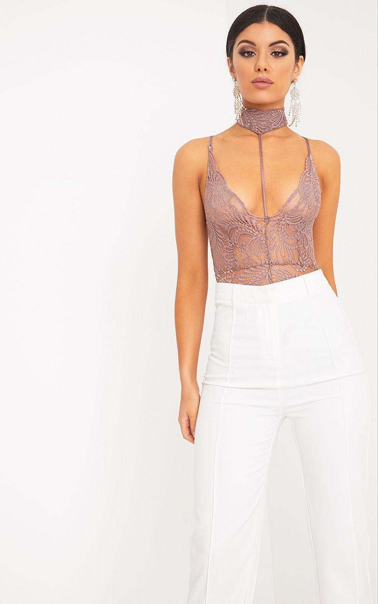 Lucille Truffle Sheer Lace Choker Thong Bodysuit