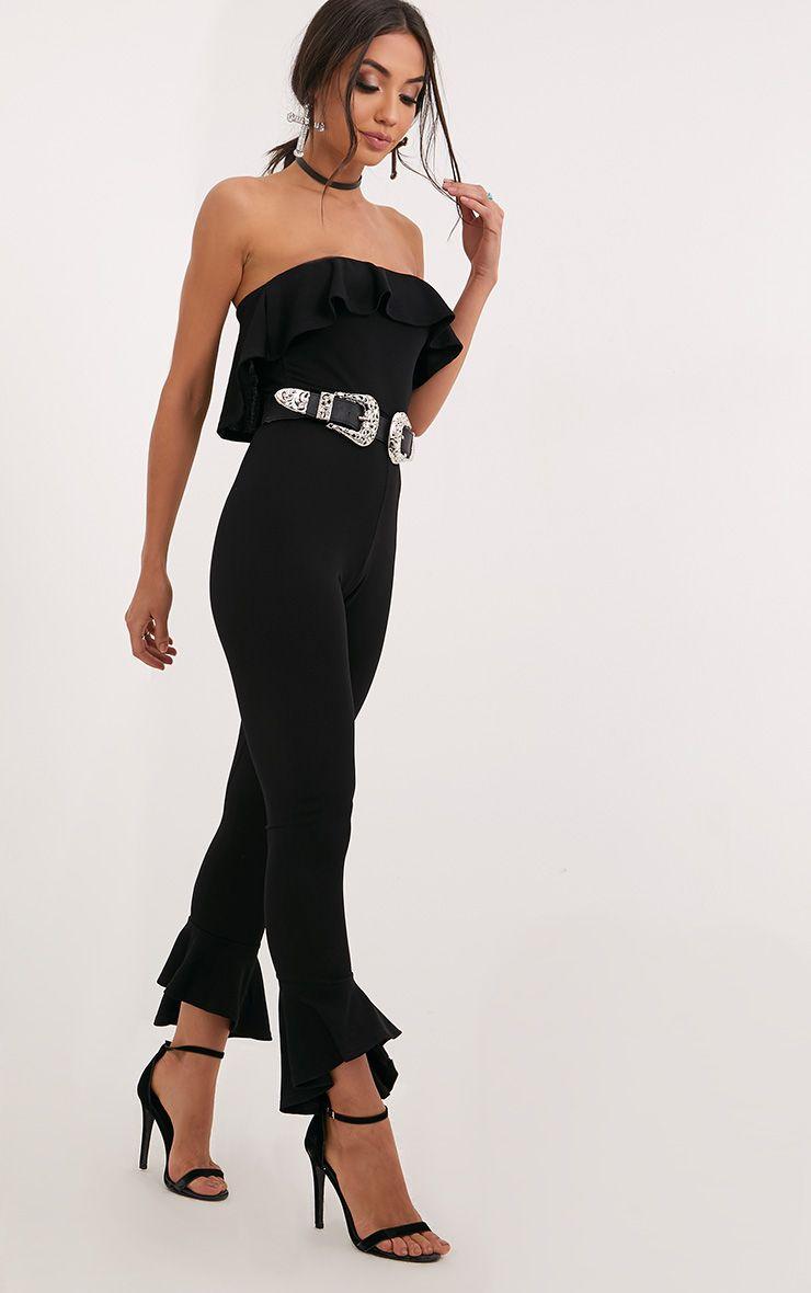Adalia Black Bardot Frill Hem Leg Jumpsuit