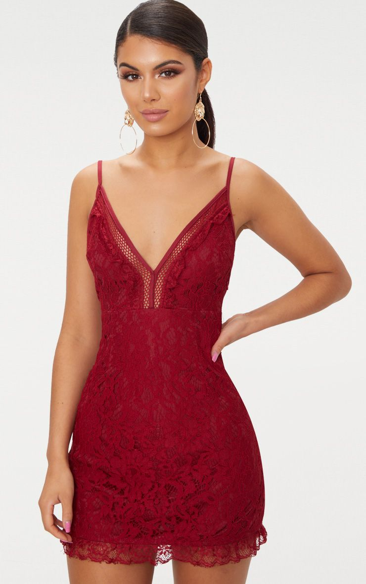 Burgundy Strappy Lace Shift Dress