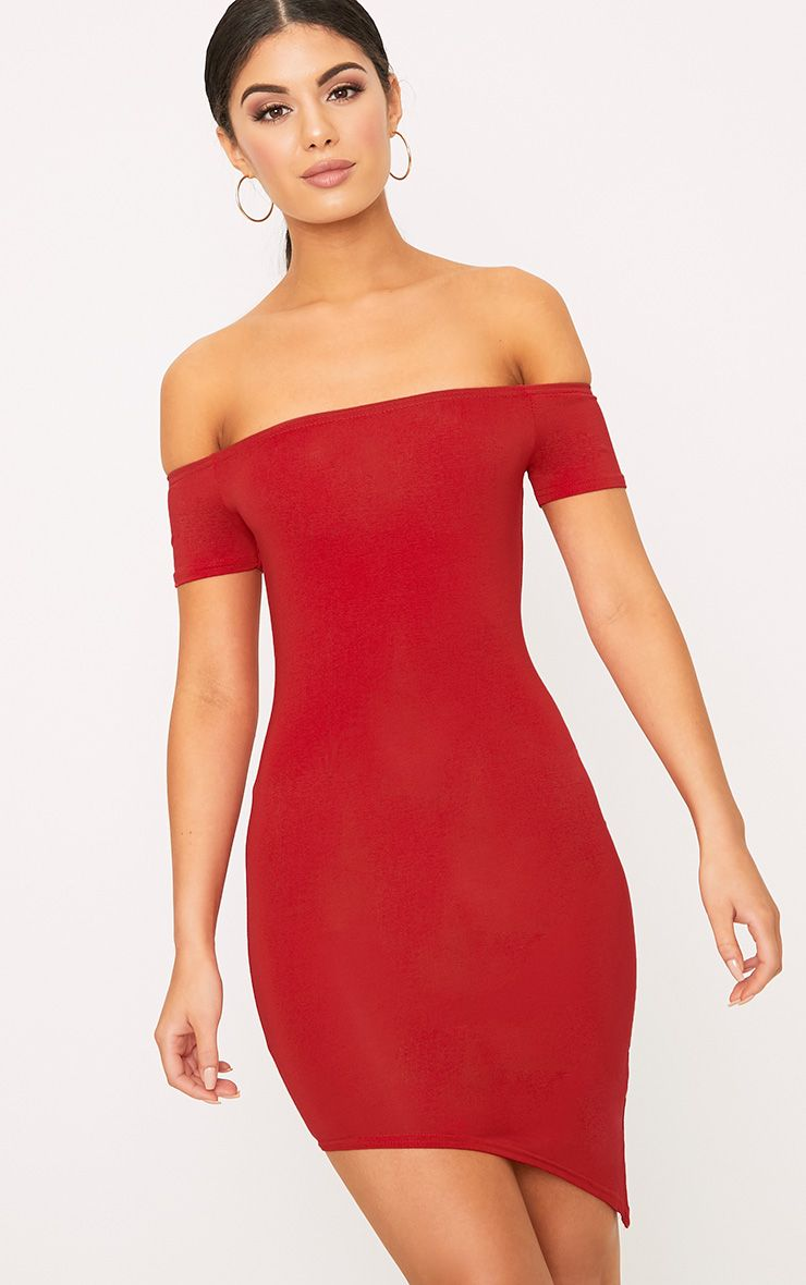Red Asymmetric Hem Bardot Bodycon Dress