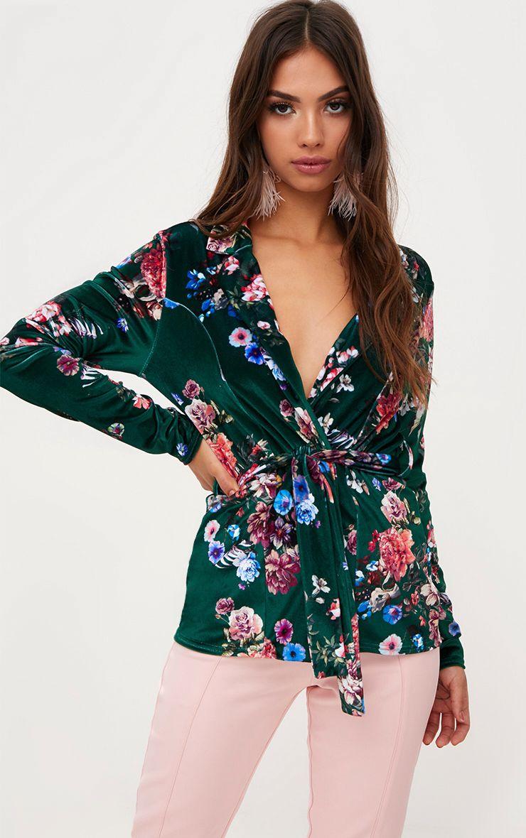 Green Floral Velvet Belted Blazer