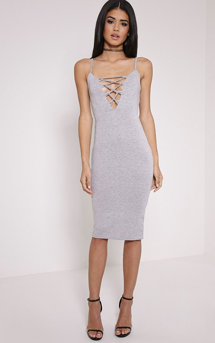 Rommie Grey Lace Up Midi Dress 1